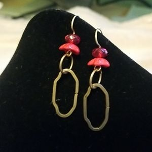 Red and Brass Earrings